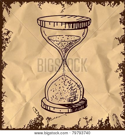 Sand glass clock isolated on vintage background