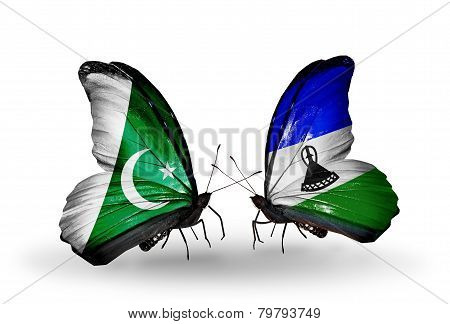 Two Butterflies With Flags On Wings As Symbol Of Relations Pakistan And Lesotho