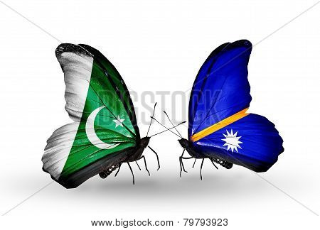 Two Butterflies With Flags On Wings As Symbol Of Relations Pakistan And  Nauru