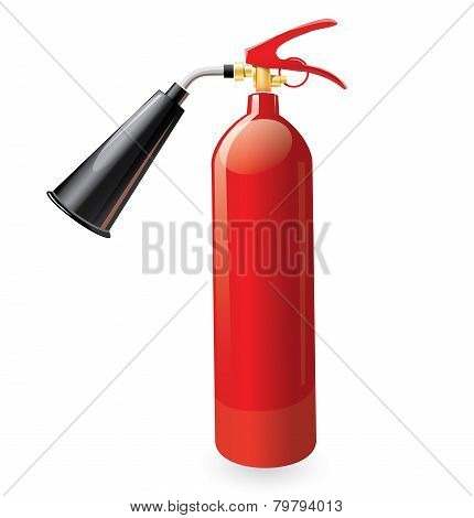 Red metal glossiness fire extinguisher