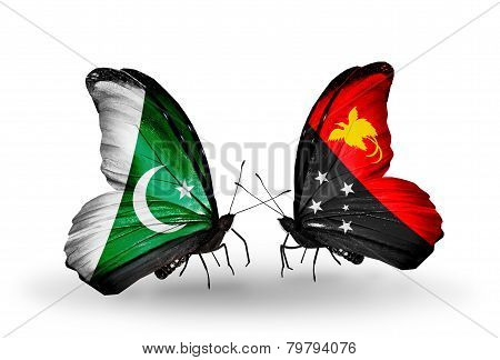 Two Butterflies With Flags On Wings As Symbol Of Relations Pakistan And Papua New Guinea