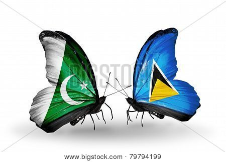 Two Butterflies With Flags On Wings As Symbol Of Relations Pakistan And Saint Lucia