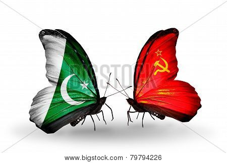 Two Butterflies With Flags On Wings As Symbol Of Relations Pakistan And Soviet Union