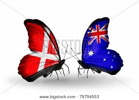 Two Butterflies With Flags On Wings As Symbol Of Relations Denmark And Australia