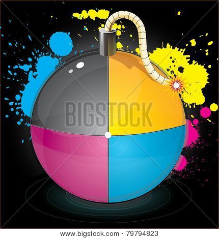 Bomb with colourful splashes