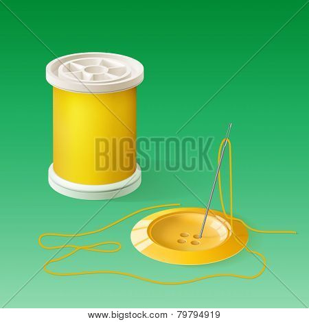Spool Of Thread And Button With Needle