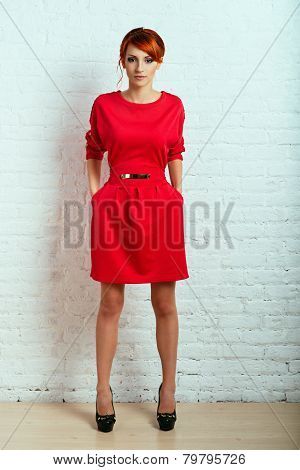 Woman Posing In Red Dress