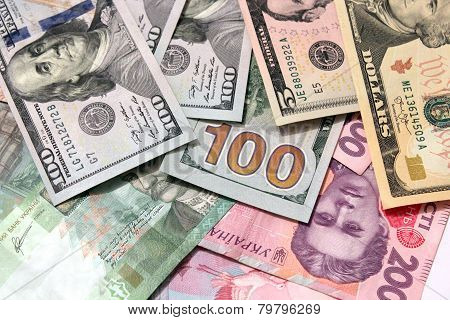 American Dollars On Grivnas Bank Notes
