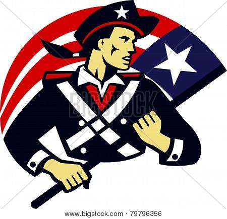 American Patriot Minuteman Flag Retro