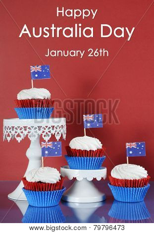 Happy Australia Day, January 26Th, Party Food With Red, White And Blue Cupcakes And Australian Flags