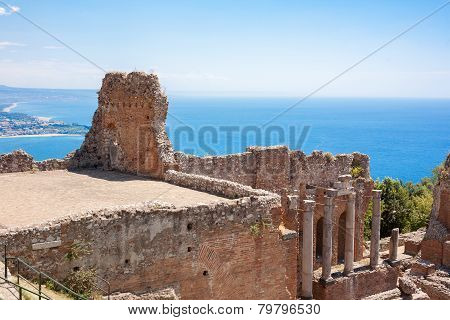 Taormina's Theater And Naxos