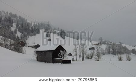 Onset Of Winter In The Swiss Alps