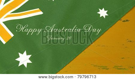 Australian Flag In Unofficial Green And Gold Colours On Yellow Recycled Wood Background With Sample