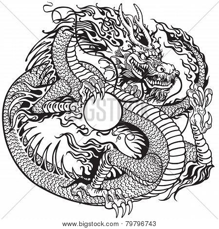 dragon holding pearl black white