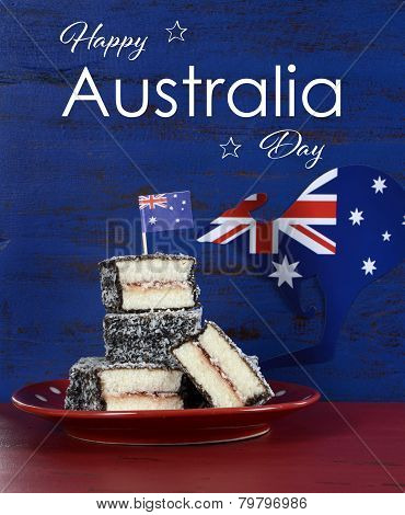 Happy Australia Day January 26 Party Food With Iconic Australian Lamington Cakes On Dark Red And Blu