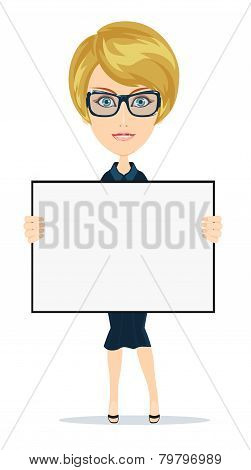 Business woman holding a banner - isolated over white background