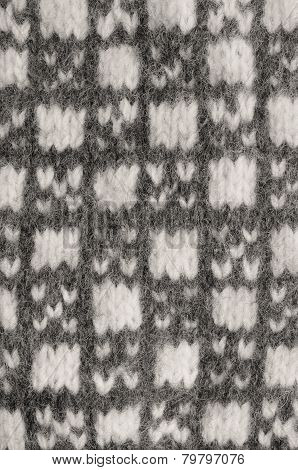 Gray Mitten Background, Grey White Textured Woolen Mittens Pattern, Knitted Warm Wool Winter