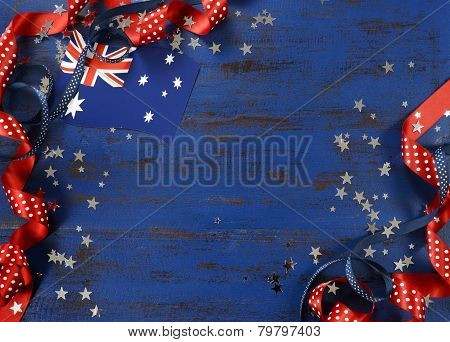 Happy Australia Day, January 26, Theme Dark Blue Vintage Distressed Wood Background With Australian