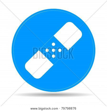 Plaster Icon On Blue Background