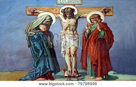 TRAVNIK, BOSNIA AND HERZEGOVINA - JUNE 11: 12th Stations of the Cross, Jesus dies on the cross, Church of St. Aloysius in in Travnik, Bosnia and Herzegovina on June 11, 2014.