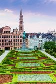 stock photo of garden-art  - Beautiful Mont des Arts Garden and Brussels panorama - JPG
