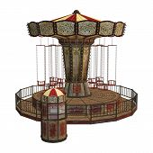 pic of swingers  - 3D digital render of a vintage carousel and a ticket box isolated on white background - JPG