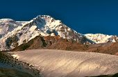 stock photo of shan  - Scenic view of glacier and highest peaks in Tien - JPG