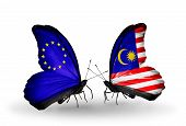 image of malaysia  - Two butterflies with flags on wings as symbol of relations EU and Malaysia - JPG