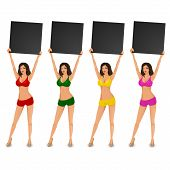 pic of card-making  - Sexy woman in bikini making an announcent - JPG