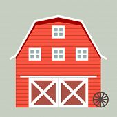 stock photo of barn house  - minimalistic illustration of a barn - JPG