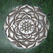 pic of handicrafts  - Medieval handicraft metal flower in green stone - JPG