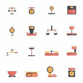 foto of flat-foot  - Scales luggage hook foot weight icon flat set isolated vector illustration - JPG