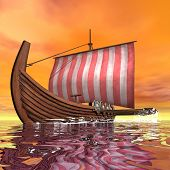 picture of viking ship  - Drakkar or viking ship floating on the ocean by sunset  - JPG