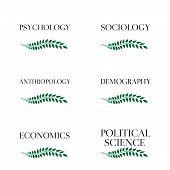 stock photo of macroeconomics  - Different Kinds of Social Science Laurels 3 - JPG