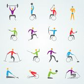 Постер, плакат: Disabled Sports Icons Set