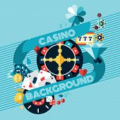 picture of poker machine  - Casino gambling game of fortune background with roulette wheel and chips vector illustration - JPG