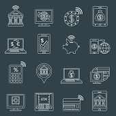 stock photo of electronic banking  - Mobile banking outline icons set with dollar euro exchange electronic account isolated vector illustration - JPG