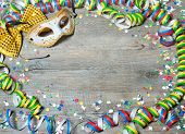 foto of party hats  - Colorful carnival background with garlands - JPG