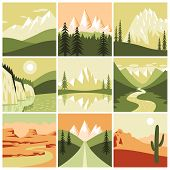 stock photo of decorative  - Nature mountain landscapes tourism decorative icons set isolated vector illustration - JPG