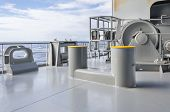 stock photo of bollard  - Mooring winch and bollard on a stern of the vessel - JPG