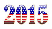 stock photo of patriot  - The year 2015 filled with patriotic stars and stripes - JPG