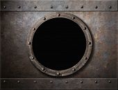 pic of ironclad  - submarine armoured porthole or window metal background - JPG