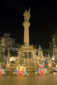pic of christopher columbus  - Colon Plaza or Columbus Plaza with Christmas lights located at the entrance to Old San Juan - JPG