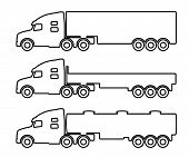 picture of tank truck  - Vector set of silhouettes the cargo trucks - JPG