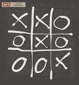 image of tic  - Vector drawing of tic tac toe on a dark background - JPG