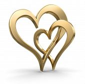 stock photo of three dimensional shape  - Image of Two gold bound hearts - JPG