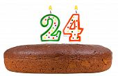 image of 24th  - birthday cake with candles number twenty four isolated on white background - JPG