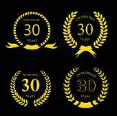 image of laurel  - thirty years anniversary laurel gold wreath  set - JPG