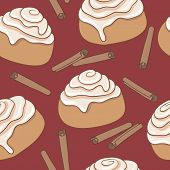 Постер, плакат: Seamless pattern with cinnamon rolls and sticks of cinnamon
