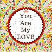 picture of text-box  - Romantic seamless pattern with bright colorful doodle hearts - JPG
